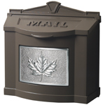 Gaines - Brown Wallmount Mailbox With Satin Nickel Leaf