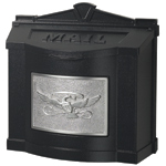 Gaines - Black Wallmount Mailbox With Satin Nickel Eagle