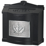 Gaines - Black Wallmount Mailbox With Satin Nickel Leaf