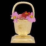 Flower Basket Brass Bookends