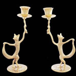 Dancing Fox Brass Candle Holder