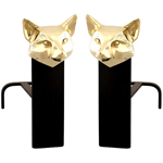 Fox Head Brass Andirons