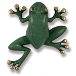 Michael Healy - Brass/Blue Green Patina Frog Door Knocker