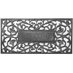 Whitehall - Pewter Silver Filigree Rectangle Welcome Door Mat