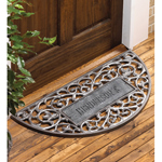 Whitehall - Pewter Silver Filigree Arch Personalized Door Mat