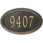Whitehall - 1 Line Classic Concord Oval Address Plaques