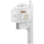 Whitehall - Ultimate White Residential Mailbox with Post