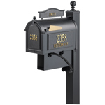Whitehall - Ultimate Black Residential Mailbox with Post