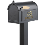 Whitehall - Premium Black Residential Mailbox with Post