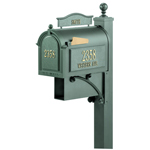Whitehall - Ultimate Green Residential Mailbox with Post