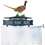 Whitehall - Two-Sided One Line Mailbox Sign With Pheasant Ornament
