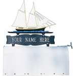 Whitehall - Two-Sided One Line Mailbox Sign With Schooner Ornament