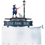 Whitehall - Two-Sided One Line Mailbox Sign With Lamplighter Ornament