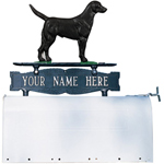 Whitehall - Two-Sided One Line Mailbox Sign With Black Lab Ornament