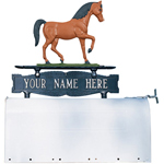 Whitehall - Two-Sided One Line Mailbox Sign With Horse Ornament