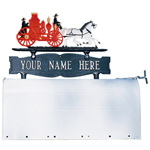 Whitehall - Two-Sided One Line Mailbox Sign With Fire Engine Ornament