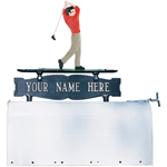 Whitehall - Two-Sided One Line Mailbox Sign With Golfer Ornament