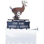 Whitehall - Two-Sided Two Line Mailbox Address Sign With Buck Ornament