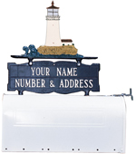 Whitehall - Two-Sided Two Line Mailbox Sign With Lighthouse Ornament