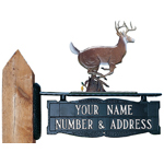 Whitehall - Two-Sided Two Line Post Address Sign With Buck Ornament
