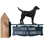 Whitehall - Two-Sided Two Line Post Address Sign With Black Lab Ornament