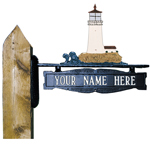Whitehall - Two-Sided One Line Post Sign With Lighthouse Ornament