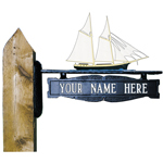 Whitehall - Two-Sided One Line Post Sign With Schooner Ornament