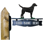 Whitehall - Two-Sided One Line Post Sign With Black Lab Ornament