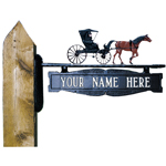 Whitehall - Two-Sided One Line Post Sign With Country Doctor Ornament