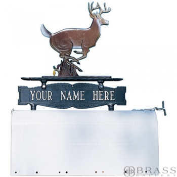 Whitehall - Two-Sided One Line Mailbox Sign With Buck Ornament